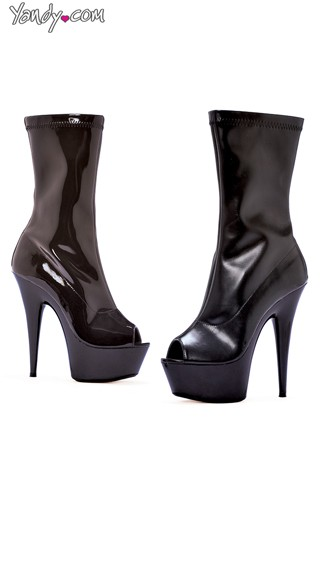 Peep Toe Calf Boots, Calf High Boots, Open Toe Boots