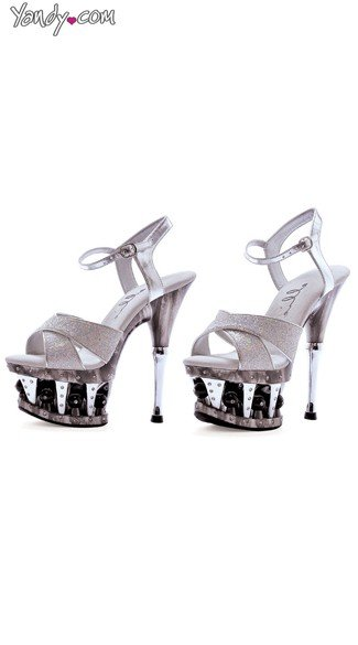 "6"" Crossed Strap Silver Glitter Platforms, Ball Platform Sandals"