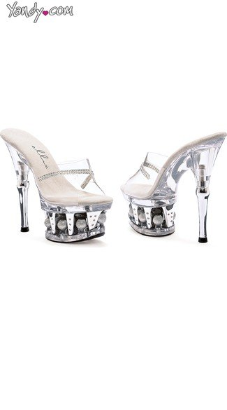 Clear Rhinestone Mules with Ball Platform