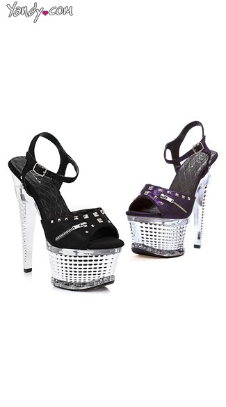 "6"" Textured Zipper Platforms, Studded Zipper Shoes"
