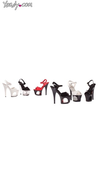 "6"" Pointed Stiletto Sandals with Cut Out Platform, Cut Out Sandals"