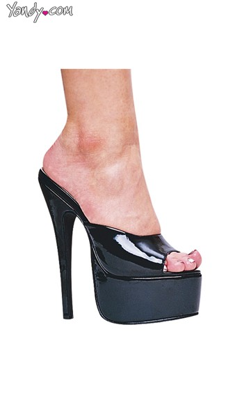 "Black 6.5"" Stiletto Heel Mules"