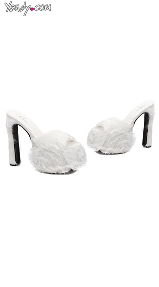 "6.5"" Heel Faux Fur Sandals, Faux Fur Shoes, Faux Fur High Heels"