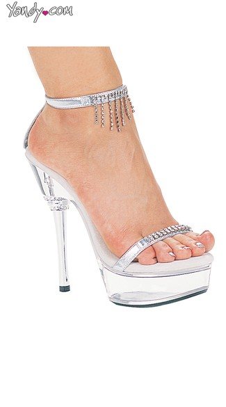 "6"" Sandals With Rhinestone Details, Rhinestone Heel Shoes"