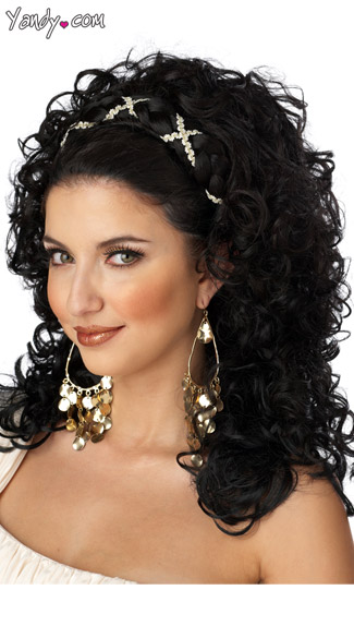 Grecian Goddess Wig, Greek Costume Wig, Long Curly Black Wig