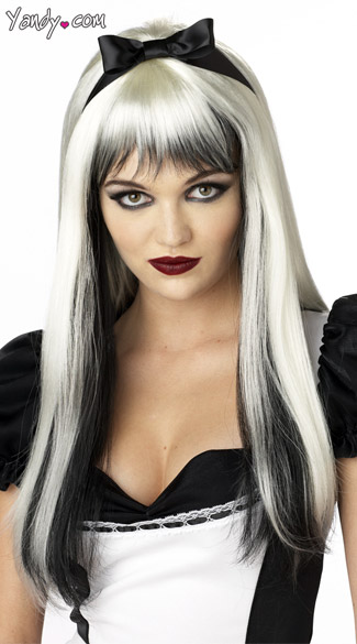 Black and White Enchanted Tresses Wig, Black and White Costume Wig, Dark Alice Wig