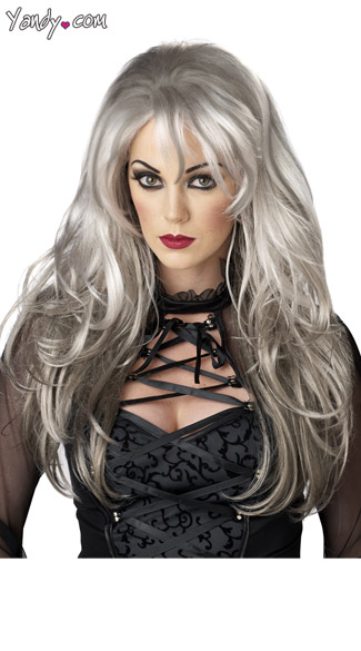 Fallen Angel Wig, Dark Angel Wig, Silver Costume Wig