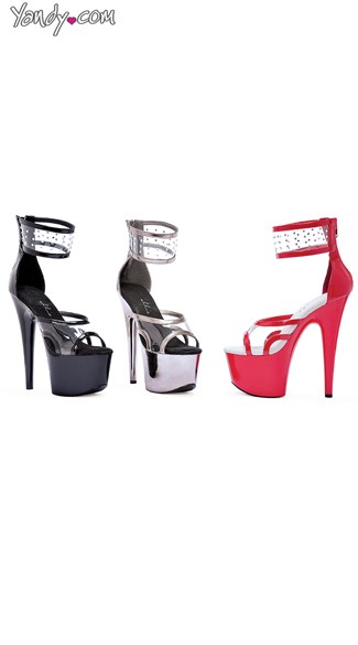 "7"" Pointed Stiletto Sandal with Clear Ankle Strap"