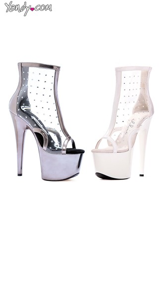 "7"" Pointed Stiletto Clear Bootie, Clear Stiletto Bootie"