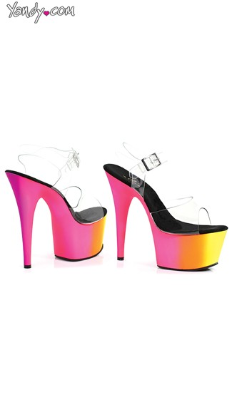 7 Inch Mule With Rainbow Design, Neon Pink Platforms