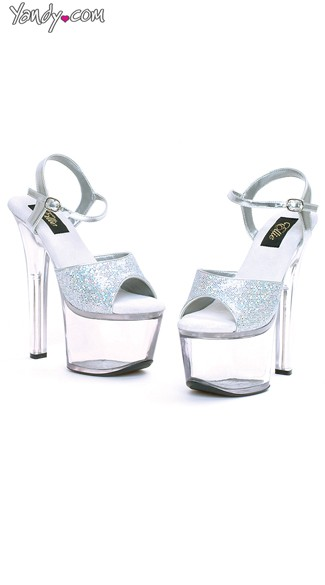 "7"" Heel Silver Glitter Sandal, Glitter Shoes, Silver Sparkle Shoes"