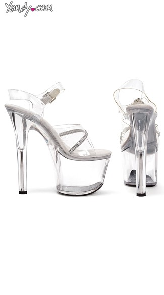"7"" Heel Clear Sandal With Ankle Strap and Rhinestones"