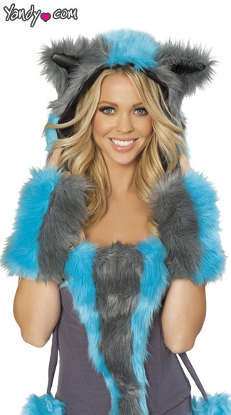 Cheshire Cat Fur Hood, Chester Hood, Cheshire Cat Halloween Costume Hood, Cheshire Cat Costume Fur Hood