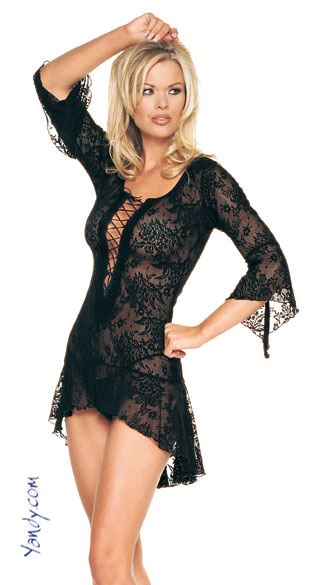 Spanish Lace Sheer Mini Dress, Flair Sleeves