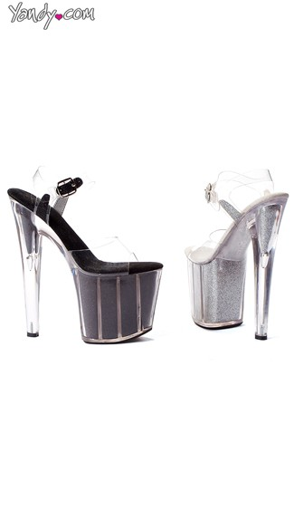 "8"" Pointed Stiletto Sandals with Glitter Platform, Glitter Platform Shoes"