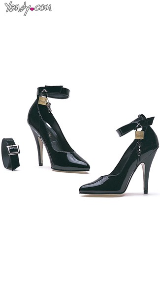 "5"" Heel Pump with Lock And Key, Black Pumps with Key"