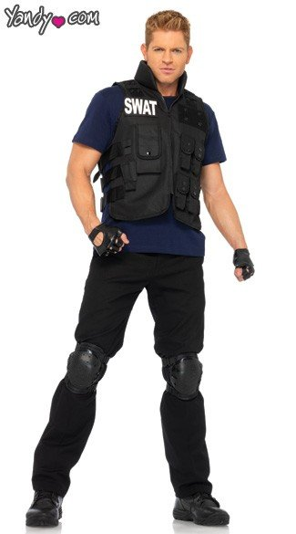 Mens SWAT Team Costume, Mens SWAT Commander Halloween Costume, Mens SWAT Costume
