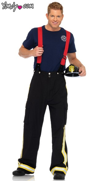 Mens Firefighter Costume, Mens Fire Captain Costume, Male Fire Fighter Costume, Mens Fire Fighter Halloween Costume