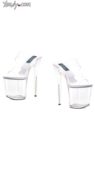 "8"" Heel Slide Sandal, Clear Platform Sandals"