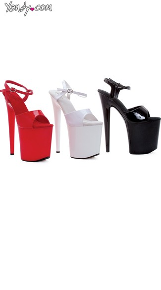 "8"" Heel Solid Color Platform Sandals"