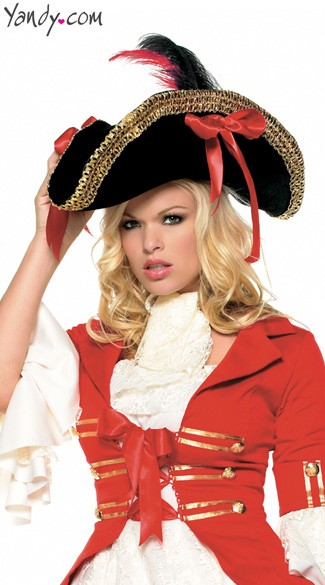 Pirate Hat With Thick Gold Trim, Costume Pirate Hat, Leg Avenue Pirate Hat