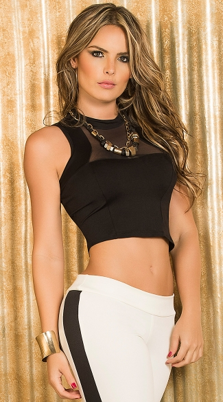 Mesh Tank Sleeve Crop Top with Sheer Panels