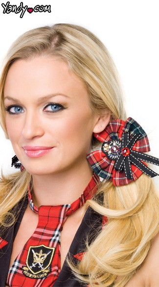 School Girl Hair Bows, Plaid School Girl Hair Bows With Crest Applique