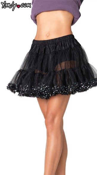 Petticoat With Sequin Trim, Sequin Petticoat for Halloween Costume