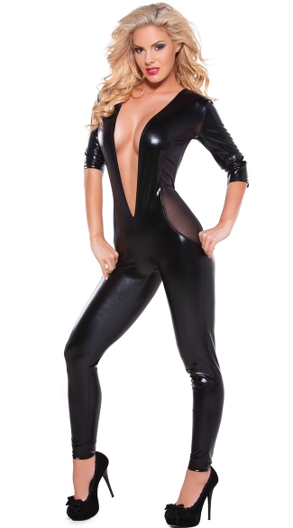 Wet Look and Mesh Catsuit, Full Body Suit Costume, Sexy Club Clothes