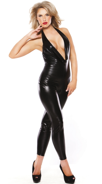 Deep V Wet Look Catsuit