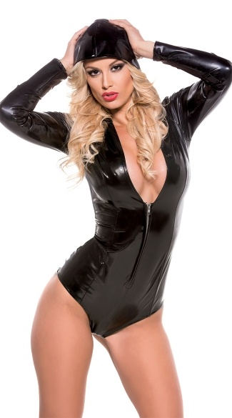 Wet-Look Hooded Bodysuit