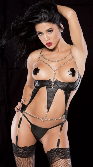 Open Cup Chains and Faux Leather Corset