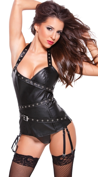 Faux Leather Eyelet Halter Corset