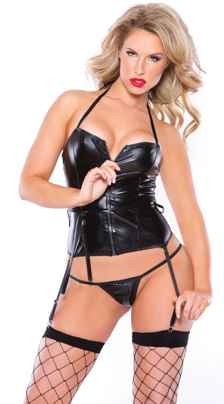 Front Zip Wet Look Corset and G-String