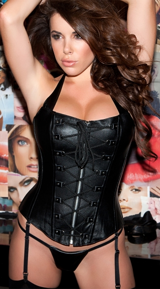 Exclusive Faux Leather Corset and G-String Set, Black Leather Corset, Faux Leather Bustier Top