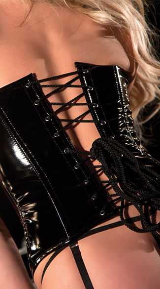 Zipper and Lace-Up Vinyl Corset