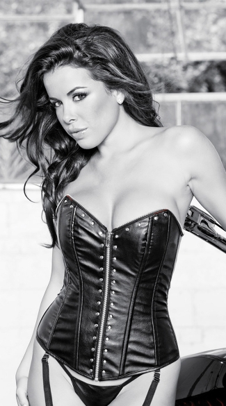 Faux Leather Corset with Studs