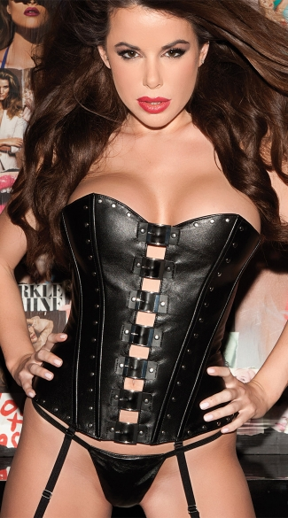 Faux Leather Studded Corset, Sexy Faux Leather Corset