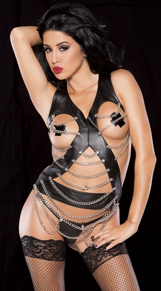 Chain and Faux Leather Top and G-String