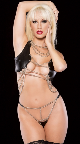 Barely There Faux Leather and Chain Set