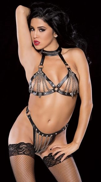 Leather and Chains Revealing Set