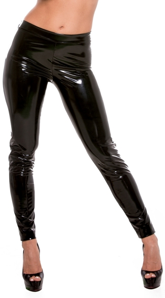 Black Vinyl Pants, Wet Look Pants, Vinyl Pants