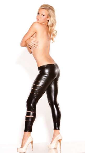 Slashed Stretch Vinyl Pants, Black Vinyl Pants, Black Leather Pants