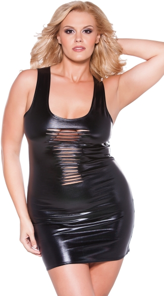 Plus Size Wet Look Slashed Front Dress, Plus Size Sexy Wet Look Mini Dress, Plus Size Cut Out Wet Look Club Dress
