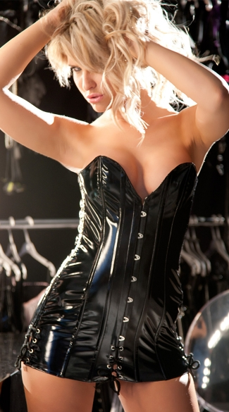 Plus Size Vinyl Corset Dress
