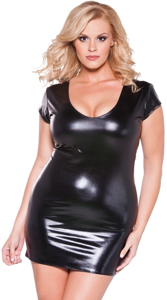 Plus Size Short Sleeve Vinyl Mini Dress, Plus Size Sexy Wet Look Mini Dress, Plus Size Black Pleather Dress