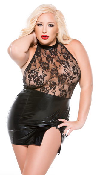Plus Size Lace and Wet Look Mini Dress
