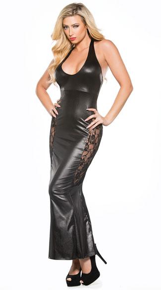 Long Vinyl And Lace Gown Black Vinyl Gown Black Lace Gown