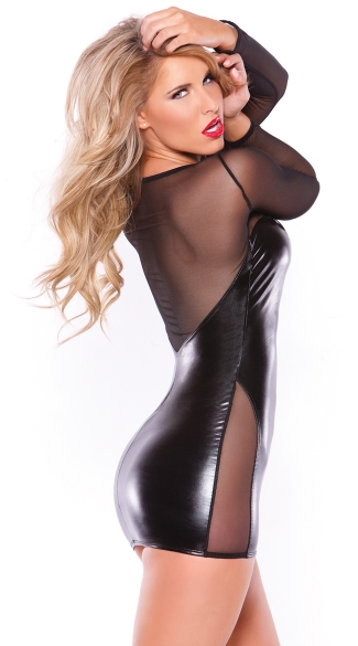 Long Sleeve Sheer Mesh and Wet Look Mini Dress