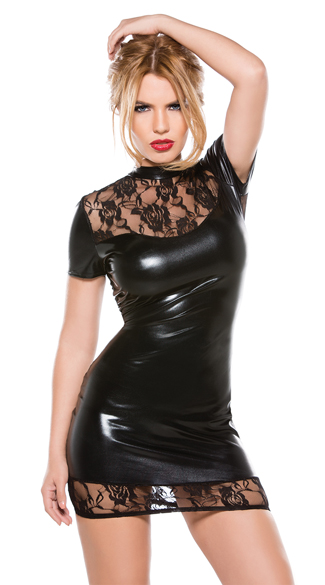 High Neck Wet Look and Lace Dress, Wet Look and Lace Mini Dress, Vinyl and Lace Dress